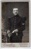 Photo CDV  Portrait Militaire-30 ( Col)-Photographes Lançon Frères Chambéry-Annecy-scans Recto-verso - Guerre, Militaire