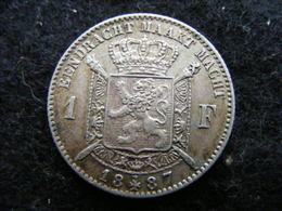 1 Frank 1887 , Léopold II, Argent (Vlaams) - 1865-1909: Leopold II