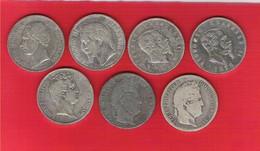 Lot De 7 Pièces 5 Francs Argent Napoléon III Léopold Louis-Philippe Vitorio-Emanuele 165 Gr. - France