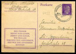 """German Empires 1944 Kopfbild A.Hitler GS Mi.Nr.P312/08""""Der Führer..."""" Mit SST""""Hochspeyer."""" 1 GS - Allemagne"""