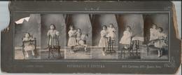 PHOTO STRIP - SURREALISME Joli Filles Avec Cheval En Bois - Cabinet Photo 1910's By Bernardino Pascale - Personnes Anonymes