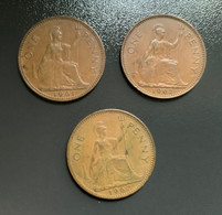 GRAN BRETAGNA  - ENGLAND - 1961 E 1962 - 2 Monete 1 PENNY Elisabetta II - 1 Penny & 1 New Penny