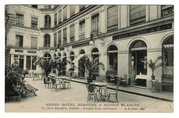 Grand Hôtel Bergère & Maison Blanche - 34 Rue Bergère Paris - Grande Cour Intérieure - Circulée - 2 Scans - Cafés, Hôtels, Restaurants