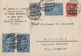 DR Karte Mif Minr.3x 253,273,280 Berlin 29.8.23 Gel. In Tschechoslowakei - Briefe U. Dokumente