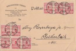 DR Karte Mef Minr.8x 317 Brslau 3.11.23 - Briefe U. Dokumente