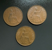GRAN BRETAGNA  - ENGLAND - 1965 , 1966 E 1967 - 3  Monete 1 PENNY Elisabetta II - 1 Penny & 1 New Penny