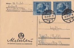 DR Karte Mef Minr.2x 823 Lübeck 14.1.43 - Deutschland
