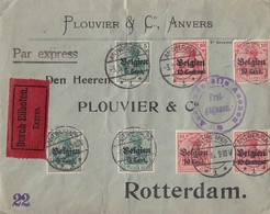 Dt.Post Belgien Brief Eilbote Mif Minr.2x 3,3x 12,2x 14 Antwerpen 3.9.15 Gel. Nach Holland - Occupation 1914-18