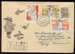 MAIL Post Stationery Cover Used USSR RUSSIA Set Stamp Children Bird Scout Space Rocket Sputnik Tourist Dove - 1923-1991 URSS
