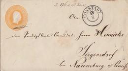 Preussen GS-Umschlag 3 Silbgr. K2 Constadt 18.2. Gel. Nach Siegersdorf - Preussen