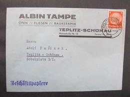 BRIEF Teplitz Schönau Albin Tampe Öfen Fliesen 1940 ///  D*37006 - Allemagne