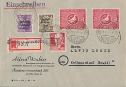 SBZ R-Brief Mif Minr.201,206,220,2x 232 Niedercunnersdorf 29.7.48 - Sowjetische Zone (SBZ)