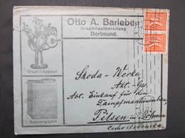 BRIEF Dortmund - Plzen 1922 2x40 Pfg MeF Otto A. Barleben Graphit ///  D*37012 - Briefe U. Dokumente
