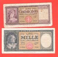 Lot 2 Billets Italie Banca D'Italia 500 Et 1000 Lire MIN. 14 Aout 1947 - [ 2] 1946-… : République
