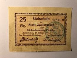 Allemagne Notgeld Zweibrucken 25 Pfennig - [ 3] 1918-1933 : République De Weimar