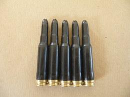 5 Cartouches à Blanc En Plastique Noire, Cal 7,62 Allemandes. - Equipment