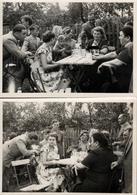 2 Photos Originales D'une Femme Souffrant De Monophtalmie - Femme Borgne En Terrasse Avec Son Bandeau à Werdau - Personnes Anonymes