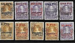 """España 1927 """" XXV Aniº Alfonso XIII """" Sellos Colonias Habilitados Edifil 392/401 Usados X Yvert 329/38 Obliteres - Oblitérés"""