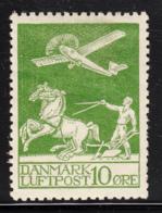 Denmark 1925 MH Sc #C1 10o Airplane, Plowman Adherence On Gum - Poste Aérienne