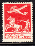 Denmark 1925 MH Sc #C3 25o Airplane, Plowman Crease Upper Left Corner - Poste Aérienne