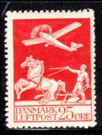 Denmark 1925 MH Sc #C3 25o Airplane, Plowman Crease Lower Left Corner - Poste Aérienne