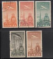 Denmark 1934 Used Sc #C6-#C10 Set Of 5 Airplane, Towers Of Copenhagen - Poste Aérienne