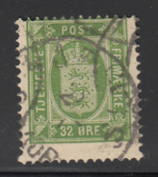 Denmark 1875 Used Sc #O9 32o Small State Seal - Service