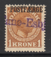 Denmark 1919 Used Sc #Q11 POSTFAERGE On 1k King Christian X Yellow Brown - Colis Postaux