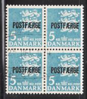 Denmark 1972 Used Sc #Q48 POSTFAERGE On 5k Small State Seal Block Of 4 Misshaped P Lower Right - Colis Postaux