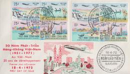 Enveloppe  FDC   1er  Jour   VIETNAM     AIR  VIETNAM     20  Ans  De  Développement  1972 - Viêt-Nam