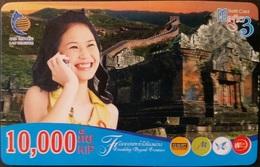 Mobilecard Laos - Lady,Frau,woman - Chinesische Mauer - Laos