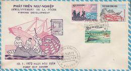 Enveloppe  FDC   1er  Jour   VIETNAM     Pêche   1972 - Viêt-Nam