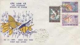 Enveloppe  FDC   1er  Jour   VIETNAM     Poissons   1971 - Viêt-Nam