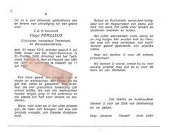 P 843. Z.E.H. Kanunnik HUGO PERILLEUX - Diocesaan Inspecteur -°ST-TRUIDEN 1913/leraar Klein-Seminarie/+ Dir.HASSELT 1980 - Images Religieuses