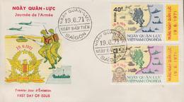 Enveloppe  FDC   1er  Jour   VIETNAM    Journée  De  L' Armée   1971 - Viêt-Nam