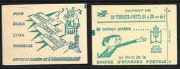 Carnet 1536-C3 Numéroté Marianne De Cheffer 0.30 Violet Couverture Epargne Postale Conf 5 - Carnets