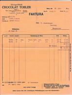 Facture CHOCOLAT TOBLER 1924 - Suisse