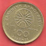 100 Drachmai , GRECE , Laiton , 1992 , N° KM # 159 - Grèce