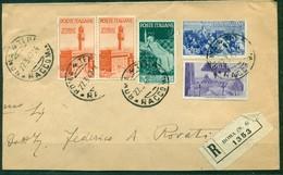 Z60 ITALIA REPUBBLICA 1947 Raccomandata (grande Frammento) Affrancata Con Repubbliche Marinare 5 Valori, Da Roma 27.3.47 - 6. 1946-.. Republic