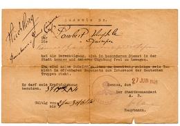 Laisser Passer Ausweis Rennes  Kommandantur 1940 - Sammlungen