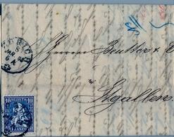 1863 , SUIZA , CARTA CIRCULADA , ZÜRICH - ST. GALLEN  , YV. 36 HELVETIA 10 C. AZUL , LLEGADA - Lettres & Documents