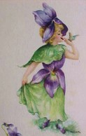Cpa FLEURS : VIOLETTE HUMANISEE , PETITE FILLE FLEUR 1916 , A/s DULK , CUTE LITTLE GIRL Dressed  As A Flower VIOLET - Portraits