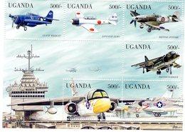 Uganda  -  Carrier Based Aircraft  -  Wildcat-Zero-Spitfire-Viking-Corsair  -  6v Sheet Neuf/Mint/MNH - Avions