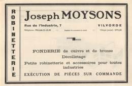 1947 - VILVORDE - Rue De L'Industrie - Fonderie De Cuivre Joseph MOYSONS - Dim. 1/2 A4 - Publicités