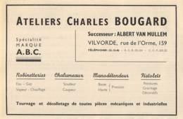 1947 - VILVORDE - Rue De L'Orme - Ateliers Charles BOUGARD - Dim. 1/2 A4 - Publicités
