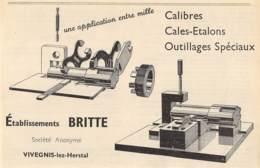1947 - VIVEGNIS-lez-HERSTAL - Outillages Spéciaux - Ets BRITTE - Dim. 1/2 A4 - Publicités