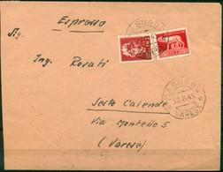 V8194 ITALIA 1945 LUOGOTENENZA Lettera Espresso Affrancata Con Imperiale 2 L.+ 5 L.,da Masnago 23.8.45 Per Sesto Calende - Storia Postale