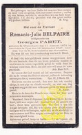 DP Romanie J. Belpaire ° Wijtschate Heuvelland 1872 † Ieper 1927 X Georges Paret - Images Religieuses
