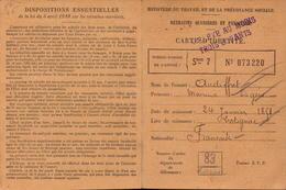 Var, Carte D Identite Retraites Ouvrieres, Cotignac, 1912        (bon Etat) - Cartes