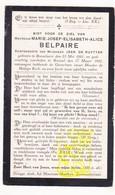 DP Marie J. Belpaire ° Roeselare 1881 † Brussel 1921 X Jean De Ruytter - Images Religieuses